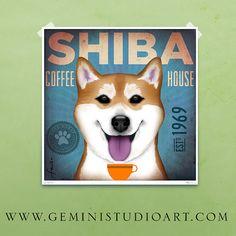 Shiba Inu Coffee House original graphic art giclee by geministudio, $39.00