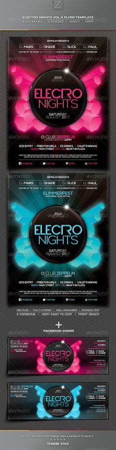 DJ Event Flyer Template Vol4 Flyer template, Templates and Flyers - electro flyer