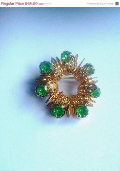 Filigree Green Rhinestone Wreath Brooch 1940s by OurBoudoir, $12.00