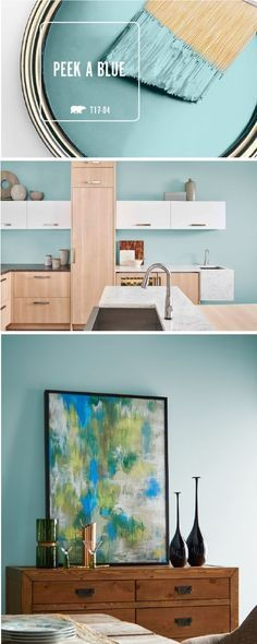 Bring a pop of bright color into your interior design with BEHR's Color of the Month: Peek A Blue. This playful blue hue pairs perfectly with tan and white accents to create a light color palette that will brighten up any room in your home. Click here to see how you can use this modern hue today.