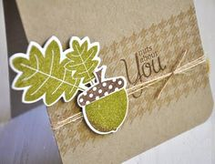Cute Card - acorn - fall theme http://mailebelles.blogspot.com/2011/08/autumn-acorns-background-basics_10.html