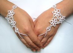 Wedding lace gloves Fingerless tatted gloves Bridal cuff bracelet - frosted crystal beads via Etsy