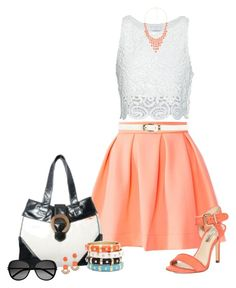 """""""Orange Skirt"""" by allysha-fa ❤ liked on Polyvore featuring Honey Punch, INC International Concepts, Miguelina, Ananas, Yves Saint Laurent, Dorothy Perkins and Sequin"""