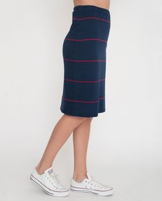ADDISON Organic Cotton Skirt In Navy And Red