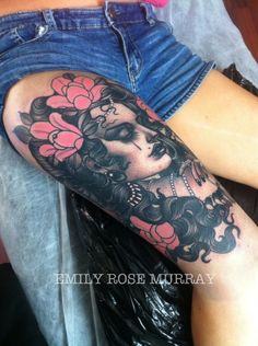 Woman Portrait by Emily Rose Murray http://tattoopics.org/woman-portrait-by-emily-rose-murray/ #tattoo #portraitart #Portraittattoo #Woman #traditonalink