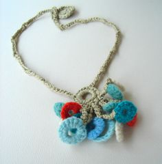 Crochet Tropical Island Turquoise and Orange Circles Necklace by meekssandygirl, via Flickr