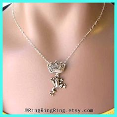 Sterling silver necklace jewelry, frog necklace, Fairy tale, princess and the frog pendant, frog necklace, Gift, girl friend, sister