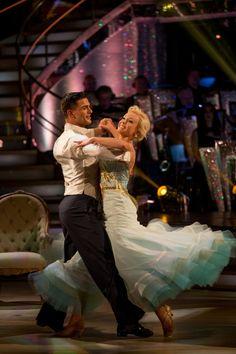 Strictly Come Dancing week 10, 2015. Helen George & Alijaz Skorjanec. Waltz. Top of the leader board. Credit: BBC / Guy Levy