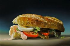 Tjalf Sparnaay paints food in what he calls Megarealism style, part of the contemporary global art movement of Hyperrealism.