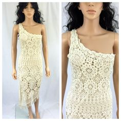 Vintage Ivory Crochet Knit Dress. One Shoulder. by NicoleNicoletta