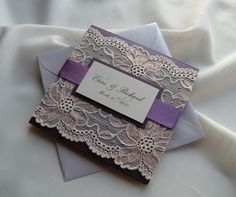 Wedding Invitation, Lace Wedding Invitation, Purple Wedding Invitation, Pink Wedding Invitation, Rustic Wedding Invitation, Elegant by JRTDaisy on Etsy https://www.etsy.com/listing/212385834/wedding-invitation-lace-wedding