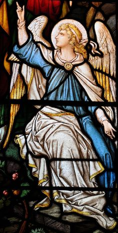 This beautiful Stained Glass Angel looks like an Old Masters painting to me. St Mary's Church, Titchwell in Norfolk.