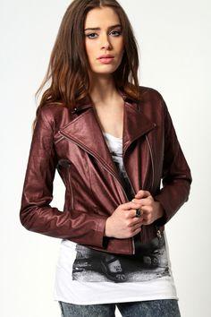 Amie Metalic PU Stud Collar Biker Jacket