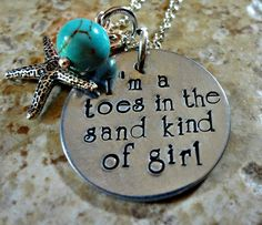 Hand Stamped Beach Necklace  Toes In the Sand Girl by RoseCreekToo, $26.00