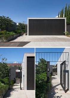 At the front of this modern house, a path sits next to the driveway and garage, and leads past a garden to the entry of the home. Garage Exterior, Modern Exterior, Garage House, House Front, Australian Architecture, Architecture Design, Architecture Portfolio, Garage Ouvert, Modern Driveway
