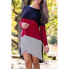 $12.11 Stylish Round Neck Long Sleeve Striped Color Block Asymmetrical Women's Dress
