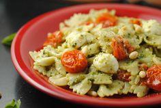 Basil Pesto Pasta with Roasted Cherry Tomatoes & Mozzarella from @Jen @ Juanita's Cocina