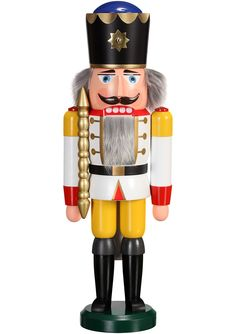 German nutcracker King white, height 39 cm / 15 inch, original Erzgebirge by Seiffener Volkskunst