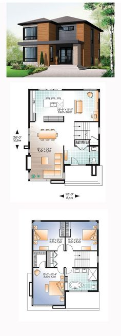 Contemporary Modern Style House Plan with 1852 Sq Ft 3 Bed 2 Bath 2019 Modern House Plan 76317 Sims House Plans, Small House Plans, Sims 2 House, Little House Plans, Dream House Plans, Casas The Sims 4, Modern Floor Plans, Home Design Plans, Home Layout Plans