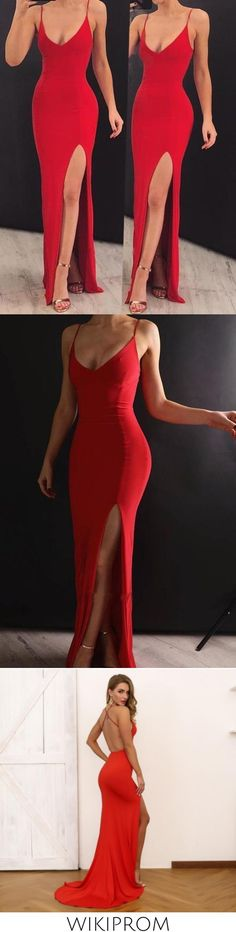 Sexy Mermaid Spaghetti Straps V Neck Red Side Slit Satin Long Prom Dresses WK574, This dress could be custom made, there are no extra cost to do custom size and color Split Prom Dresses, Formal Dresses, Spaghetti Straps, Custom Made, Mermaid, Satin, V Neck, Sexy, Color