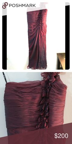 Tadashi Shoji Silk Evening Gown This a gorgeous evening slash bridal maroon with blue accent gown from Tadashi Shoji!  A favorite of celebrities this dress in great condition is a steal!  Can't wait for you to feel like the belle of the ball in this! Tadashi Shoji Dresses Wedding