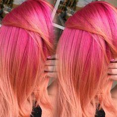 Pink to Peach Pink & peach hair Pink Peach Hair, Pink And Orange Hair, Peach Hair Colors, Yellow Hair Color, Bright Hair Colors, New Hair Colors, Colorful Hair, Mint Color, Pink Purple