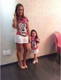 T Shirt Infantil Minnie Poa Vermelho com Pink