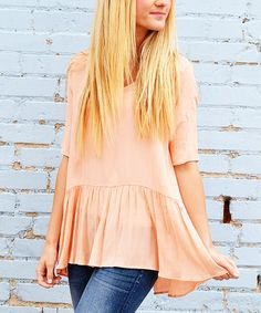 Look what I found on #zulily! Peach Peplum Tunic #zulilyfinds
