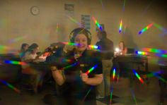 Mae cast as a prism spectrum through the lens of the glasses #science #PhysEd