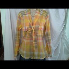 Yellow and Pink Plaid Button Down Shirt Very light and cool 100% cotton button down shirt with a very spring-like or Easter look to it.   Pretty yellow and pink plaid design.   Worn once.   Size M.  Smoke free home.   Matching earrings available.   Discount with bundle! Love Fire Tops Button Down Shirts