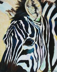 """Out of Africa Zebra Original Art 16x20"""" Ready to Hang Oil Painting"""