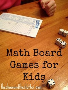 Emily Schuch - Math Board Games for Kids via Krueger-Boyer Krueger-Boyer Kostelyk - thrilled to see Rush Hour featured here for supporting spatial thinkers. Math Board Games, Math Boards, Board Games For Kids, Math Games, Dice Games, Math Activities For Kids, Math For Kids, Fun Math, Math Resources