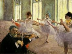"Edgar Degas. Rehearsal. 1879. Oil on canvas, 18.11"" x  24.01"". The Frick Collection, New York, United States of America."