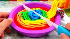 Play Doh Rainbow Pasta Noodle Kinetic Sand Dish Surprise Toys Learn Colo...