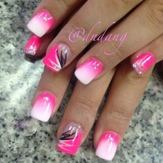 Pretty pink ombre nails