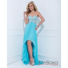 114514 Tony Bowls 2014 Prom Dresses - Water Beaded Strapless... ($478) ❤ liked on Polyvore featuring dresses, gowns, glitter prom dresses, blue strapless dress, blue dress, high low prom dresses and blue prom gown
