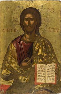 Μιχαήλ Δαμασκηνού , Χριστός Παντοκράτορας. Β΄ μισό 16ου αιώνα. Από τη Messina. Αθήνα, Βυζαντινό και Χριστιανικό Μουσείο