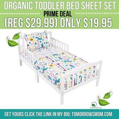 Toddler bed sheet set  made out of organic cotton GO to link in my bio @tomorrowsmom for details . . . . Visit My Blog: TomorrowsMom.com |Organic & Natural Deals|Family Savings Deals| . TAG OR DM THIS DEAL 2 A FRIEND .  #frugal #savings #deals #cosmicmothers  #organic #fitmom #health101 #change #nongmo #organiclife #crunchymama #organicmom #gmofree #organiclifestyle #familysavings  #healthyhabits #lifechanging #fitpeople #couponcommunity #deals  #healthyppl #motherhood #organiccouponing…