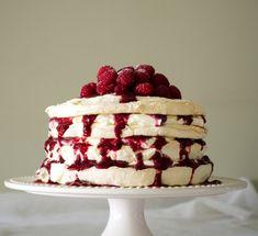 pavlova cake with lemon mascarpone & raspberry coulis | table tw Pavlova Cake, Raspberry, Cheesecake, Deserts, Cakes, Baking, Kitchen, I Love, Sweets