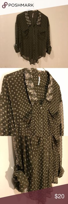 Free People Easy Rider Sheer Paisley Button Down Olive green button down blouse with paisley collar and detail on sleeves. Great condition no defects. Open to offers with in reason. Free People Tops Blouses