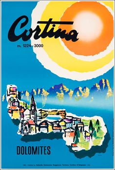 1965 Cortina vintage travel poster - Dolomites, province of Belluno, Veneto, Northern Italy