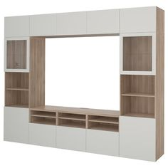 IKEA BESTA Walnut Effect Light Gray, Selsviken High Gloss/white Clear Glass TV storage combination/glass doors Tv Storage, Storage Spaces, Record Storage, Ikea Tv, Tv Wand, Tv Bench, Frame Shelf, Muebles Living, White Stain