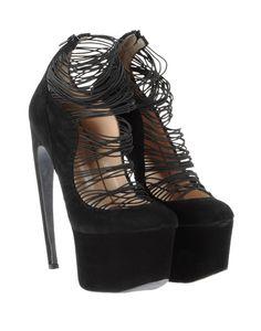 strappy black Mugler  platforms heels  suede curved