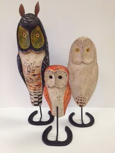 I just got these, hand carved Owls, SOLD as a set of 3.  WHOOOOOOOOOO wants them? $350. for the set