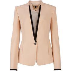 Ted Baker Teamo contrast trim crepe blazer ($290) ❤ liked on Polyvore