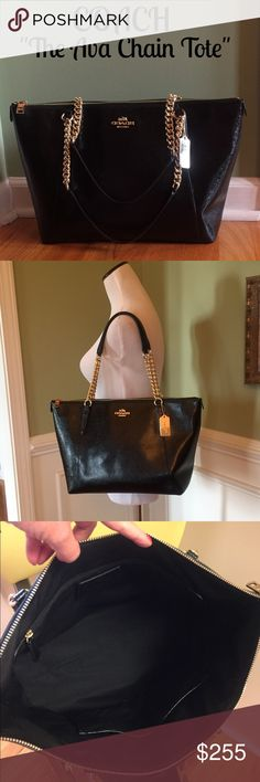 """Coach Ava Chain Tote Perfect condition, comes from the """"Ava"""" collection. Patent Crossgrain leather. Only carried 2 times, comes with tag and care card. Features: Patent Leather, Handles w/9"""" drop, Gold tone hardware, Zip closure, Black interior with a zip pocket and 2 slip pockets. Measures approx. 17""""x10""""x5"""". Very popular bag in the perfect basic color for all time use. Coach Bags Shoulder Bags"""
