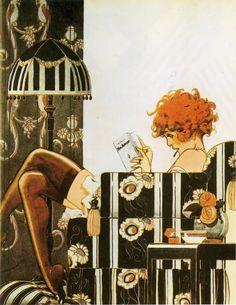 C. Hérouard, La Garçonne at home, 1925. Orignally printed in La Vie Parisienne. Scanned from Artistic Luxury.