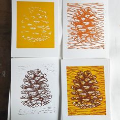 A pinecone reduction linocut, and the three colours that went into it