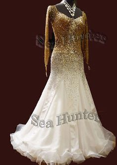 2068k Organza Ballroom tango salsa quickstep waltz standard dance dress UK 12   eBay