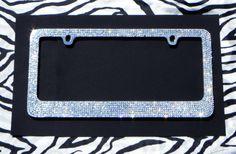 Sparkly Clear 8 Row Rhinestone Car License Plate Frame. $34.99, via Etsy.